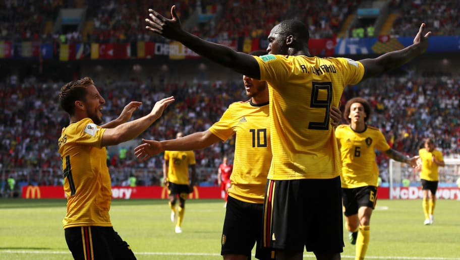 MOSCOW, RUSSIA - JUNE 23:  Romelu Lukaku of Belgium celebrates with teammates Eden Hazard and Dries Mertens after scoring his team's second goal during the 2018 FIFA World Cup Russia group G match between Belgium and Tunisia at Spartak Stadium on June 23, 2018 in Moscow, Russia.  (Photo by Kevin C. Cox/Getty Images)