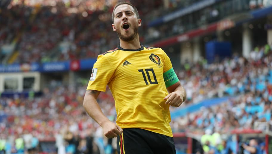 MOSCOW, RUSSIA - JUNE 23: Eden Hazard of Belgium celebrates scoring his team's fourth goal during the 2018 FIFA World Cup Russia group G match between Belgium and Tunisia at Spartak Stadium on June 23, 2018 in Moscow, Russia. (Photo by Ian MacNicol/Getty Images)
