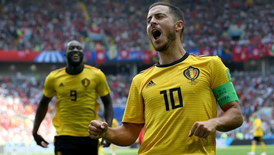 MOSCOW, RUSSIA - JUNE 23:  Eden Hazard of Belgium celebrates after scoring his team's fourth goal during the 2018 FIFA World Cup Russia group G match between Belgium and Tunisia at Spartak Stadium on June 23, 2018 in Moscow, Russia.  (Photo by Shaun Botterill/Getty Images)