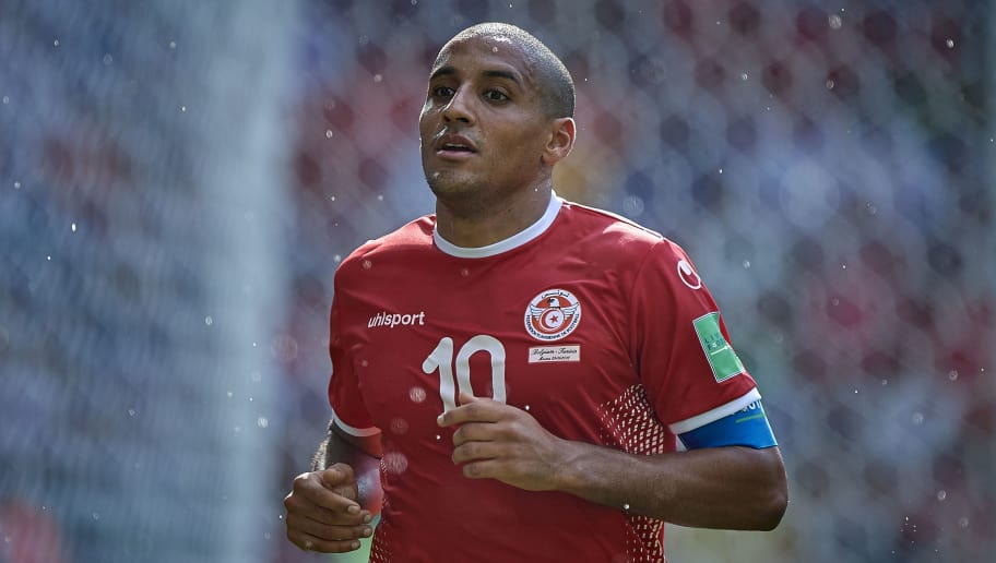 MOSCOW, RUSSIA - JUNE 23:  Wahbi Khazri of Tunisia reacts during the 2018 FIFA World Cup Russia group G match between Belgium and Tunisia at Spartak Stadium on June 23, 2018 in Moscow, Russia.  (Photo by Quality Sport Images/Getty Images)