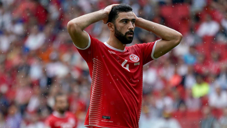MOSCOW, RUSSIA - JUNE 23:  Yassine Meriah of Tunisia reacts after the final whistle during the 2018 FIFA World Cup Russia group G match between Belgium and Tunisia at Spartak Stadium on June 23, 2018 in Moscow, Russia.  (Photo by Allsport Co./Getty Images)