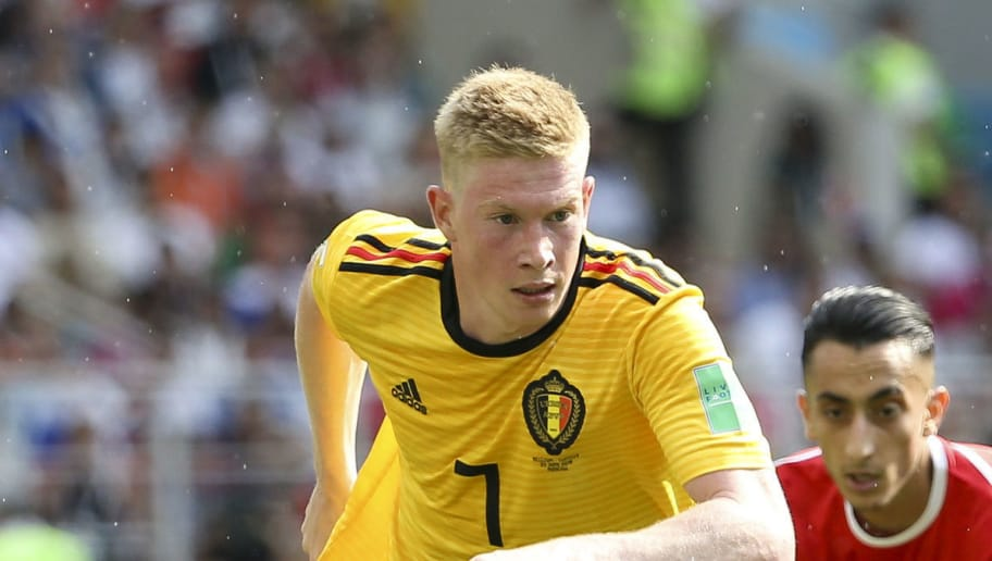 MOSCOW, RUSSIA - JUNE 23: Kevin De Bruyne of Belgium during the 2018 FIFA World Cup Russia group G match between Belgium and Tunisia at Spartak Stadium on June 23, 2018 in Moscow, Russia. (Photo by Jean Catuffe/Getty Images)