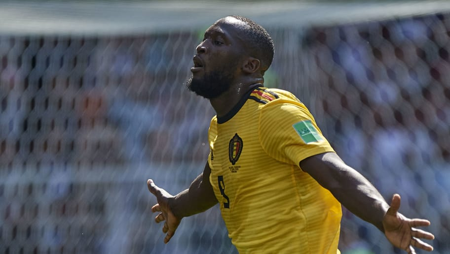 MOSCOW, RUSSIA - JUNE 23:  Romelu Lukaku of Belgium celebrates after scoring the second goal during the 2018 FIFA World Cup Russia group G match between Belgium and Tunisia at Spartak Stadium on June 23, 2018 in Moscow, Russia.  (Photo by Quality Sport Images/Getty Images)
