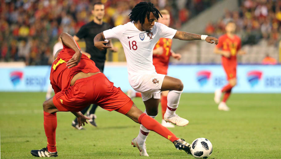 BRUSSELS,BELGIUM -  JUNE 2: Vincent KOMPANY and Gelson MARTINS pictured in action during a friendly game between Belgium and Portugal, as part of preparations for the 2018 FIFA World Cup in Russia, on June 2, 2018 in Brussels, Belgium. Vincent Kompany pulled up injured after making this tackle.  Photo by Vincent Van Doornick - Isosport