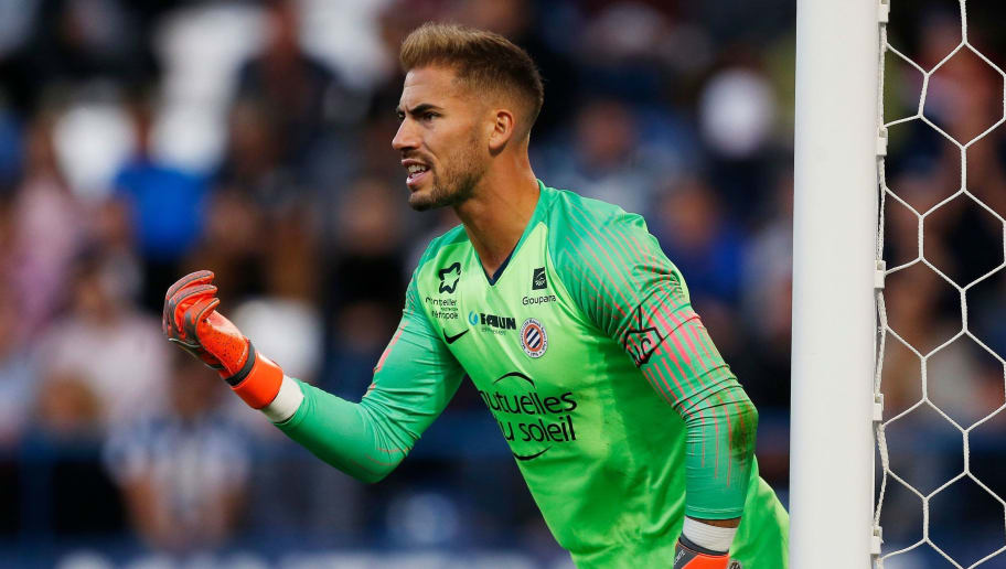 Montpellier's French goalkeeper Benjamin Lecomte gestures during the French L1 football match between Caen and Montpellier on September 26, 2018, at the Michel d'Ornano stadium, in Caen, northwestern France. (Photo by CHARLY TRIBALLEAU / AFP)        (Photo credit should read CHARLY TRIBALLEAU/AFP/Getty Images)