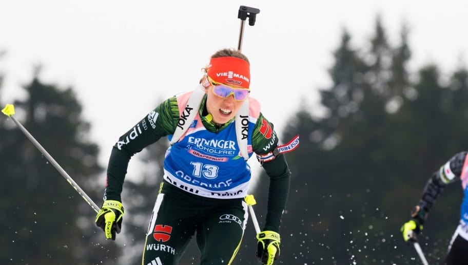 Laura Dahlmeier of Germany competes in the women's 10 km pursuit event of the IBU Biathlon World Cup in Oberhof, eastern Germany, on January 6, 2018. / AFP PHOTO / ROBERT MICHAEL        (Photo credit should read ROBERT MICHAEL/AFP/Getty Images)
