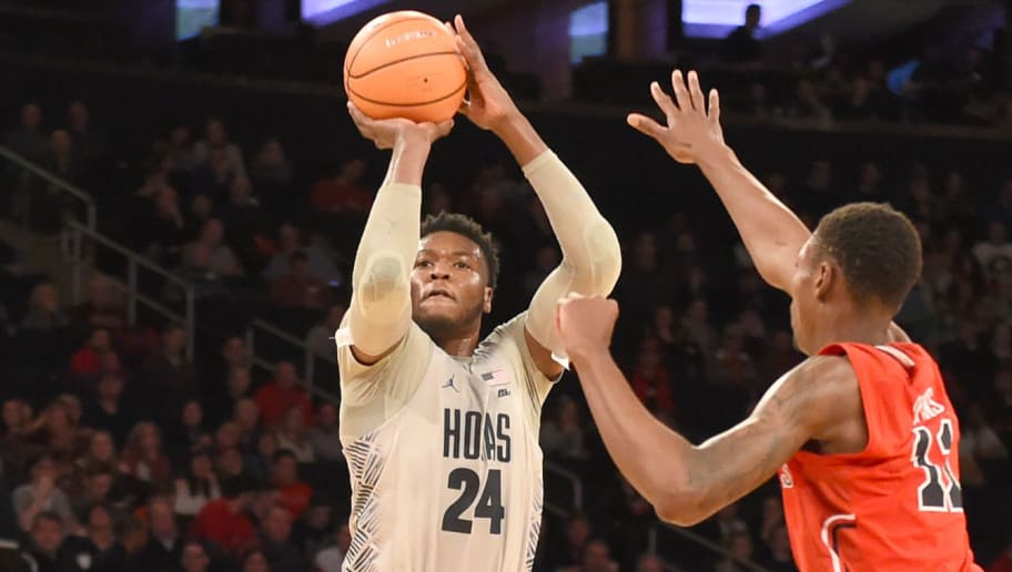 NEW YORK, NY - MARCH 07:  Marcus Derrickson #24 of the Georgetown Hoyas takes a jump shot during the 1st round of the Big East Basketball Tournament against the St. John's Red Storm at the Madison Square Garden on March 7, 2018 in New York City.  The Red Storm won 88-77.  Photo by Mitchell Layton/Getty Images)