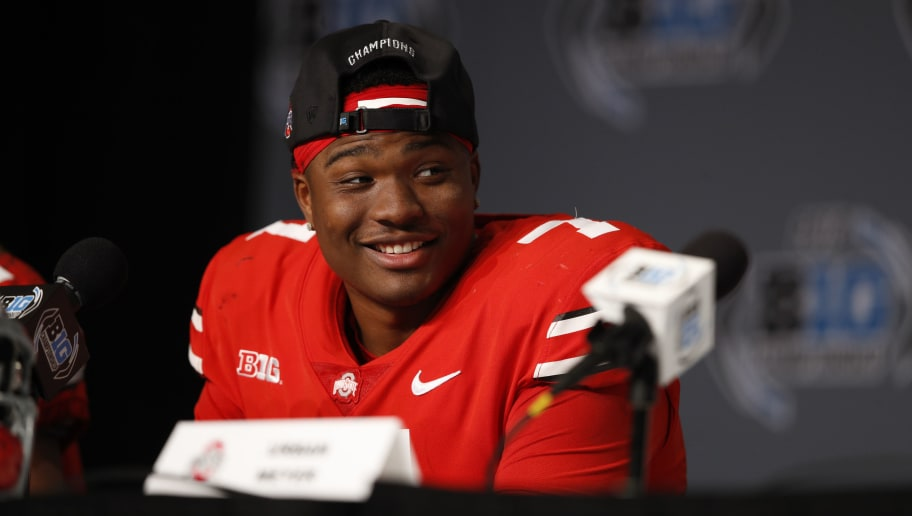 INDIANAPOLIS, INDIANA - DECEMBER 01: Dwayne Haskins Jr. #7 of the Ohio State Buckeyes speaks to the media after defeating the Northwestern Wildcats at Lucas Oil Stadium on December 01, 2018 in Indianapolis, Indiana. (Photo by Joe Robbins/Getty Images)