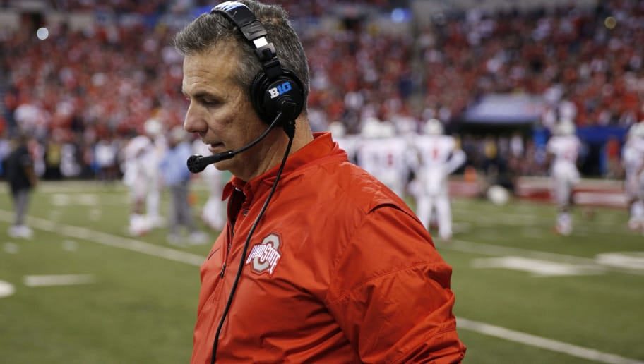 INDIANAPOLIS, IN - DECEMBER 02: Head coach Urban Meyer of the Ohio State Buckeyes reacts during the Big Ten Championship against the Wisconsin Badgers at Lucas Oil Stadium on December 2, 2017 in Indianapolis, Indiana. (Photo by Joe Robbins/Getty Images)