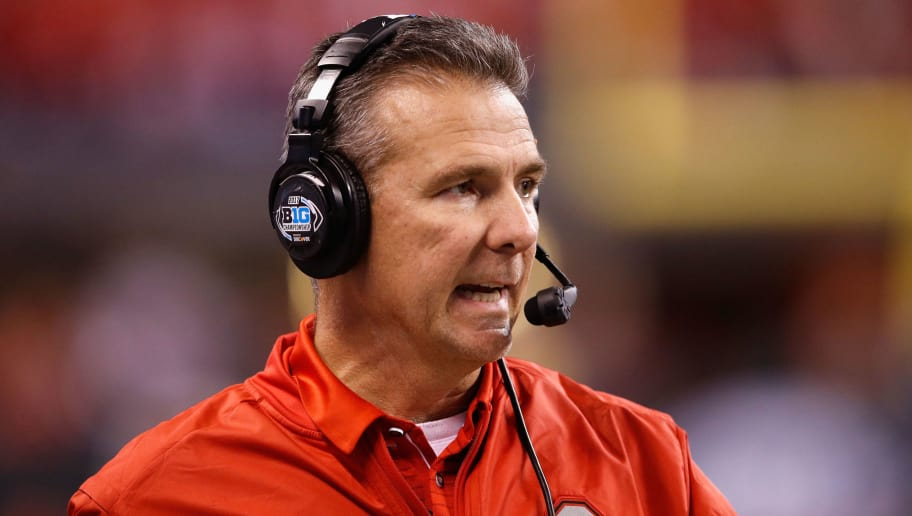 INDIANAPOLIS, IN - DECEMBER 02:  Head coach Urban Meyer of the Ohio State Buckeyes looks on as they play the Wisconsin Badgers during the second half of the the Big Ten Championship game at Lucas Oil Stadium on December 2, 2017 in Indianapolis, Indiana.  (Photo by Joe Robbins/Getty Images)