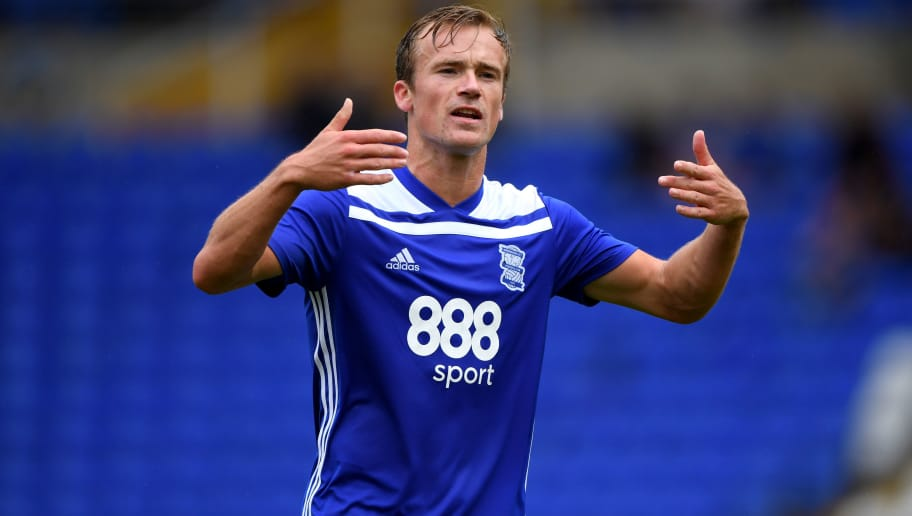 BIRMINGHAM, ENGLAND - JULY 28:  Birmingham player Maikel Kieftenbeld in action  during the friendly match between Birmingham City and Brighton and Hove Albion at St Andrew's Trillion Trophy Stadium on July 28, 2018 in Birmingham, England.  (Photo by Stu Forster/Getty Images)