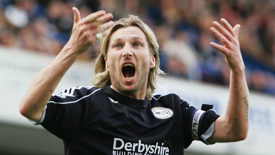 BLACKBURN, UNITED KINGDOM - MAY 03:  Robbie Savage of Derby asks the fans for some support during the Barclays Premier League match between Blackburn Rovers and Derby County at Ewood Park on May 3, 2008 in Blackburn, England.  (Photo by Matthew Lewis/Getty Images)