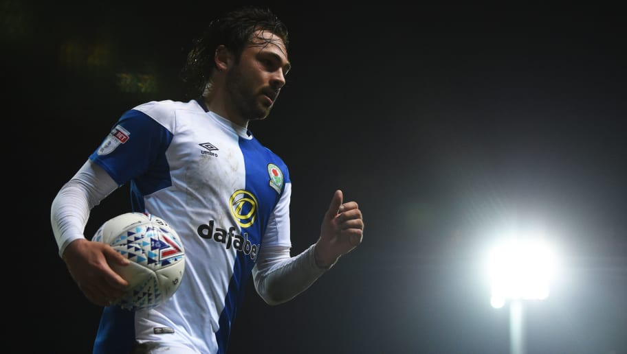 BLACKBURN, ENGLAND - APRIL 19: Bradley Dack of Blackburn Rovers runs to the corner spot during the Sky Bet League One match between Blackburn Rovers and Peterborough United at Ewood Park on April 19, 2018 in Blackburn, England. (Photo by Nathan Stirk/Getty Images)