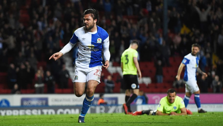BLACKBURN, ENGLAND - APRIL 19: Bradley Dack of Blackburn Rovers celebrates after scoring during the Sky Bet League One match between Blackburn Rovers and Peterborough United at Ewood Park on April 19, 2018 in Blackburn, England. (Photo by Nathan Stirk/Getty Images)