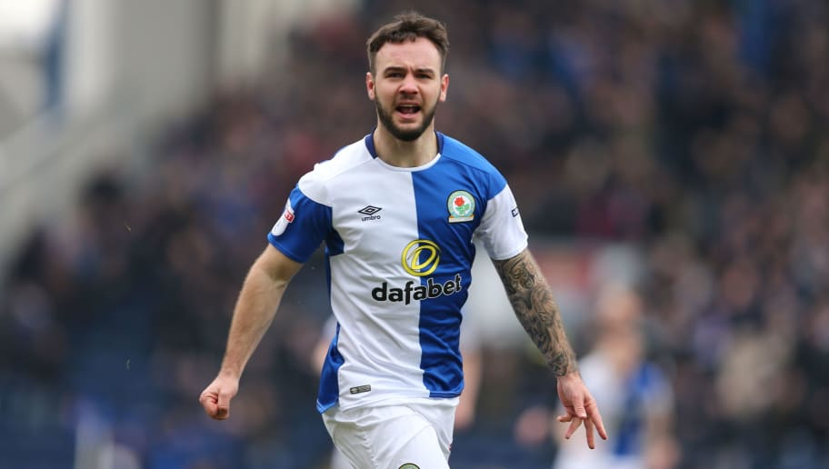 BLACKBURN, ENGLAND - MARCH 04: Adam Armstrong of Blackburn Rovers celebrates after scoring a goal to make it 1-0 during the Sky Bet League One match between Blackburn Rovers and Wigan Athletic at Ewood Park on March 4, 2018 in Blackburn, England. (Photo by James Williamson - AMA/Getty Images)