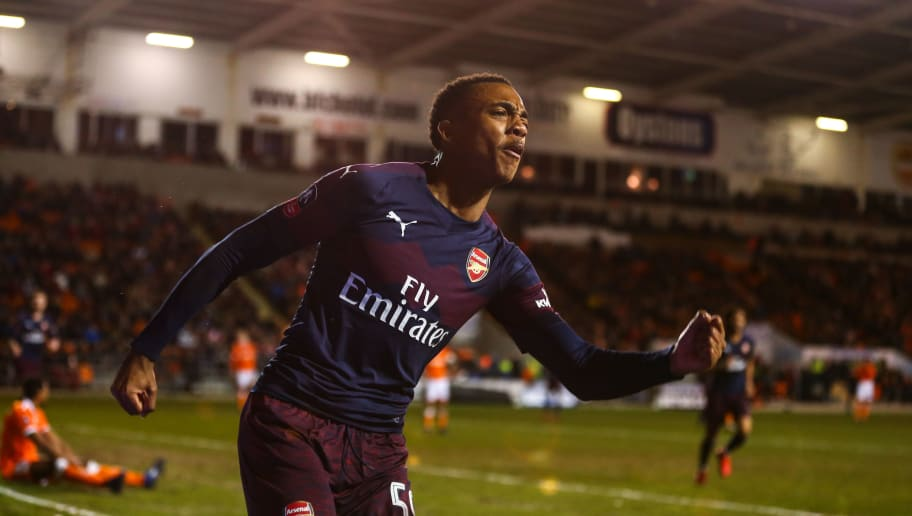 BLACKPOOL, ENGLAND - JANUARY 05: Joe Willock of Arsenal celebrates after scoring a goal to make it 0-2 during the FA Cup Third Round match between Blackpool and Arsenal at Bloomfield Road on January 5, 2019 in Blackpool, United Kingdom. (Photo by Robbie Jay Barratt - AMA/Getty Images)