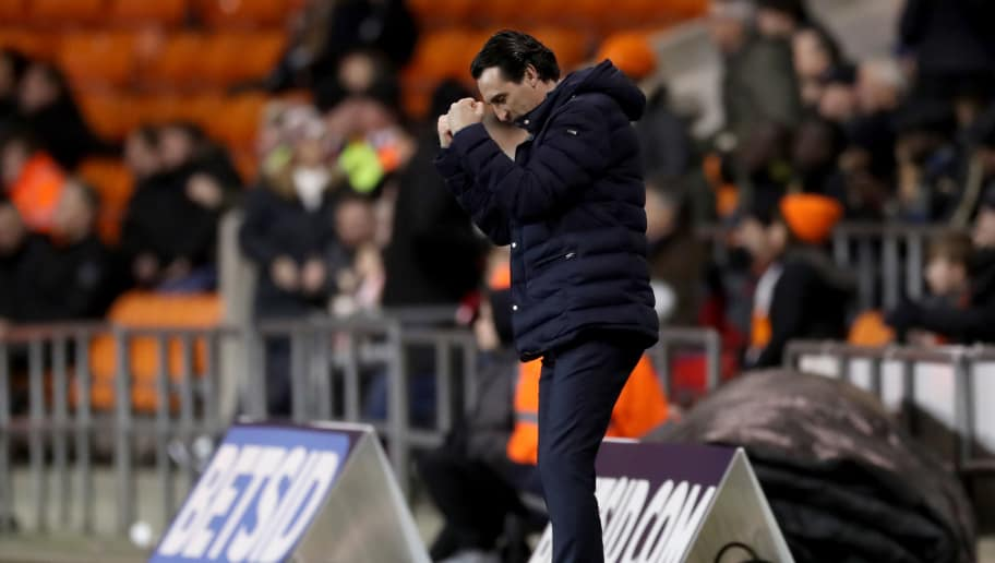 BLACKPOOL, ENGLAND - JANUARY 05:  Unai Emery, Manager of Arsenal reacts after Arsenal's second goal during the FA Cup Third Round match between Blackpool and Arsenal at Bloomfield Road on January 5, 2019 in Blackpool, United Kingdom.  (Photo by Mark Robinson/Getty Images)