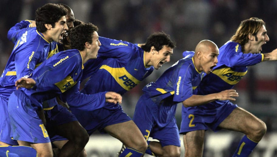 Boca Juniors' players celebrate after be