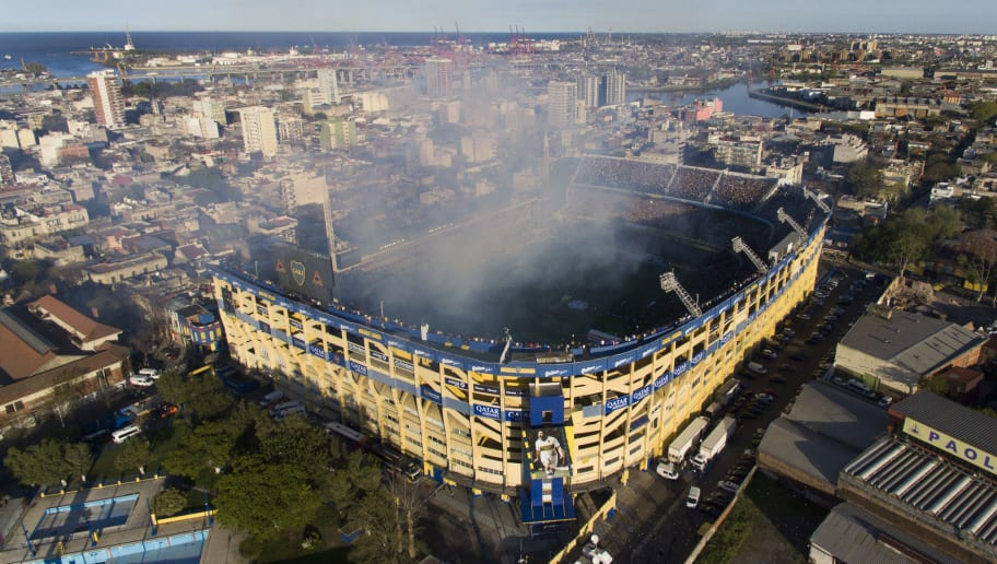 BUENOS AIRES, ARGENTINA - SEPTEMBER 23: Aerial view of Estadio Alberto J. Armando prior to a match between Boca Juniors and River Plate as part of Superliga 2018/19 at Estadio Alberto J. Armando on September 23, 2018 in Buenos Aires, Argentina. (Photo by Sebastian Rodeiro/Getty Images)