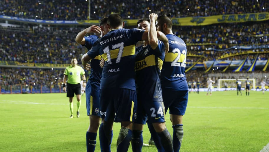 BUENOS AIRES, ARGENTINA - MAY 06:  Ramon Abila of Boca Juniors celebrates with teammates after scoring the second goal of his team during a match between Boca Juniors and Union de Santa Fe as part of Superliga 2017/18 at Estadio Alberto J. Armando on May 6, 2018 in Buenos Aires, Argentina. (Photo by Gabriel Rossi/Getty Images)