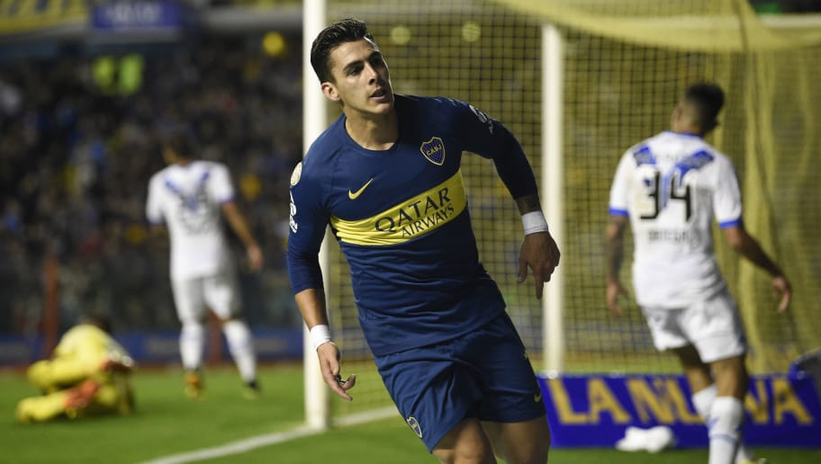 LA BOCA, ARGENTINA - SEPTEMBER 02: Cristian Pavon of Boca Juniors celebrates after scoring the first goal of his team during a match between Boca Juniors and Velez as part of Superliga Argentina 2018/19 at Estadio Alberto J. Armando on September 2, 2018 in La Boca, Argentina. (Photo by Gustavo Garello/Jam Media/Getty Images)