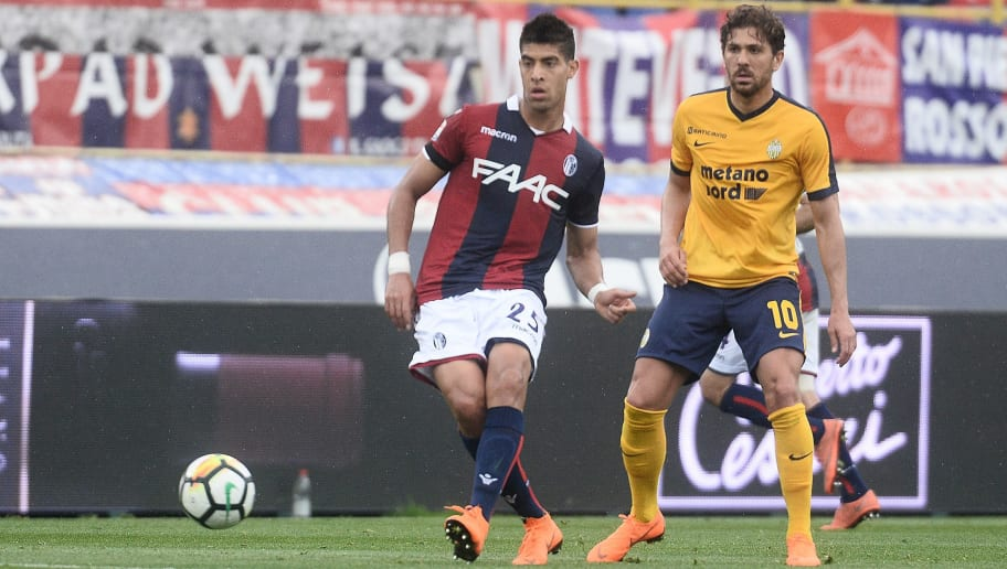 BOLOGNA, ITALY - APRIL 15:  Adam Masina of Bologna FC in action during the serie A match between Bologna FC and Hellas Verona FC at Stadio Renato Dall'Ara on April 15, 2018 in Bologna, Italy.  (Photo by Mario Carlini / Iguana Press/Getty Images)