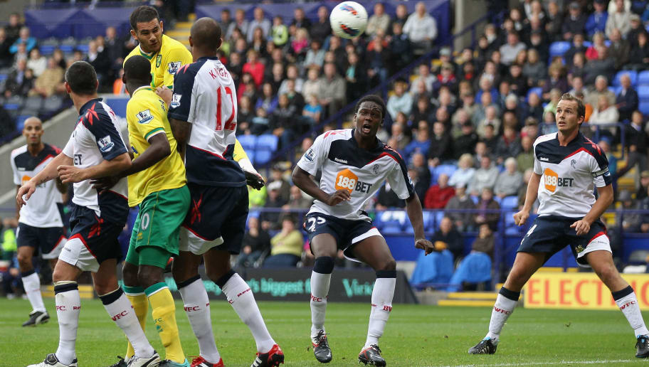 BOLTON, ENGLAND - SEPTEMBER 17: Bradley Johnson of Norwich City scores the second goal during the Barclays Premier League match between Bolton Wanderers and Norwich City at Reebok Stadium on September 17, 2011 in Bolton, England.  (Photo by Clive Brunskill/Getty Images)