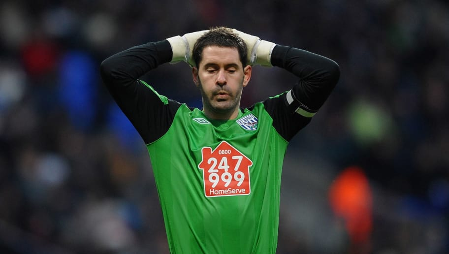BOLTON, ENGLAND - DECEMBER 26: Scott Carson of West Bromwich Albion shows his disappointment during the Barclays Premier League match between Bolton Wanderers and West Bromwich Albion at Reebok Stadium on December 26, 2010 in Bolton, England.  (Photo by Laurence Griffiths/Getty Images)