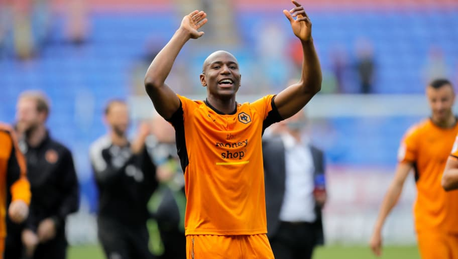 BOLTON, ENGLAND - APRIL 21: Benik Afobe of Wolverhampton Wanderers celebrates following the Sky Bet Championship match between Bolton Wanderers and Wolverhampton Wanderers at Macron Stadium on April 21, 2018 in Bolton, England. (Photo by Malcolm Couzens/Getty Images)