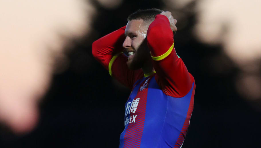 BOREHAMWOOD, ENGLAND - JULY 31: Connor Wickham of Crystal Palace reacts during the Pre-Season Friendly between Boreham Wood and Crystal Palace at Meadow Park on July 31, 2018 in Borehamwood, England. (Photo by Catherine Ivill/Getty Images)