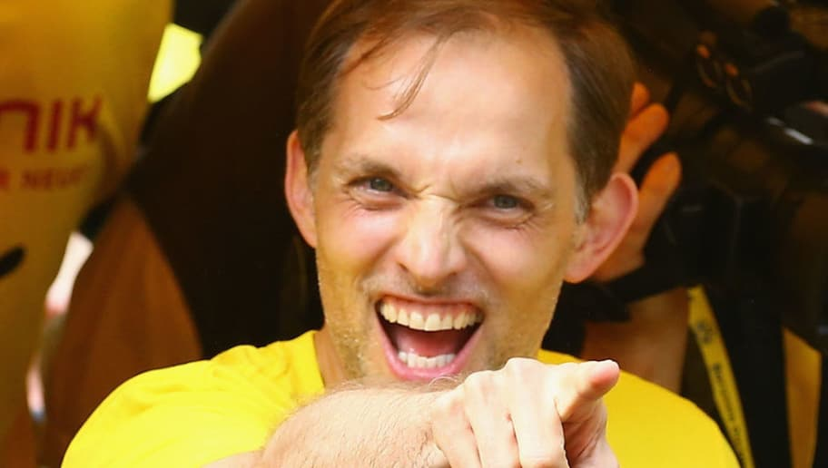 DORTMUND, GERMANY - MAY 28:  Head coach Thomas Tuchel celebrates during a parade at Borsigplatz of Borussia Dortmund's DFB Cup win on May 28, 2017 in Dortmund, Germany.  (Photo by Christof Koepsel/Bongarts/Getty Images)