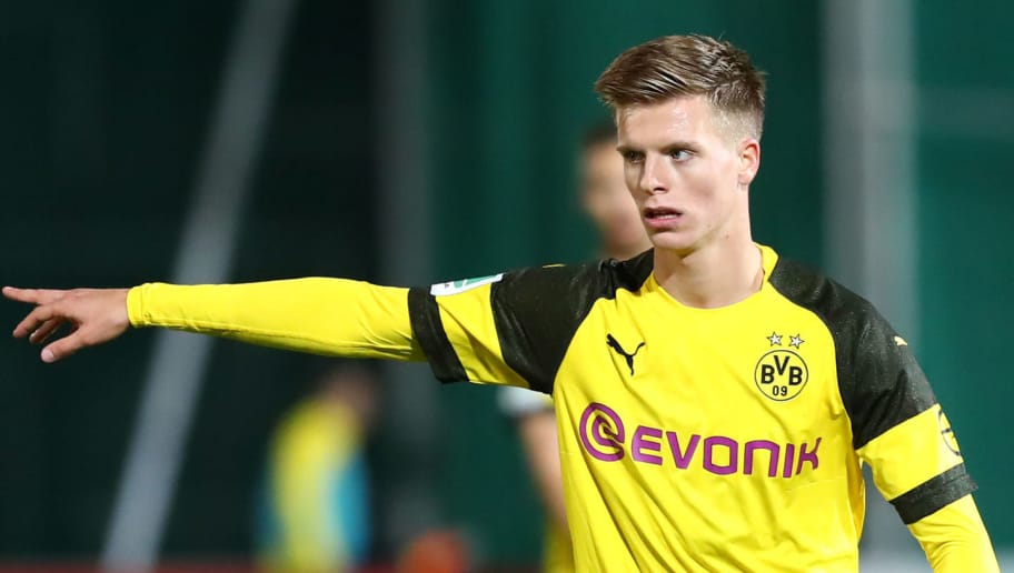 DORTMUND, GERMANY - SEPTEMBER 25: Dzenis Burnic of Borussia Dortmund II gestures during the Regionalliga West match between Borussia Dortmund II and 1. FC Koeln U23 on September 25, 2018 in Dortmund, Germany. (Photo by TF-Images/Getty Images)