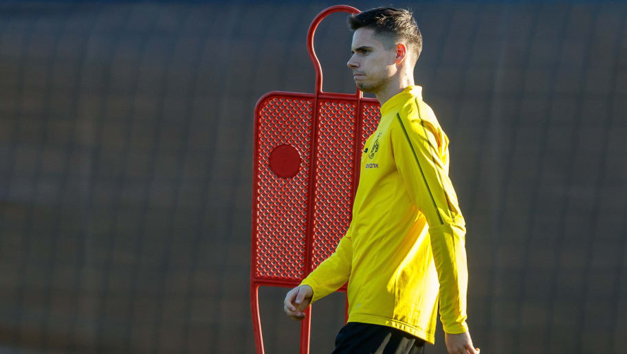 MARBELLA, SPAIN - JANUARY 04: Julian Weigl of Borussia Dortmund looks on during a training session as part of the training camp on January 4, 2019 in Marbella, Spain. (Photo by TF-Images/TF-Images via Getty Images)