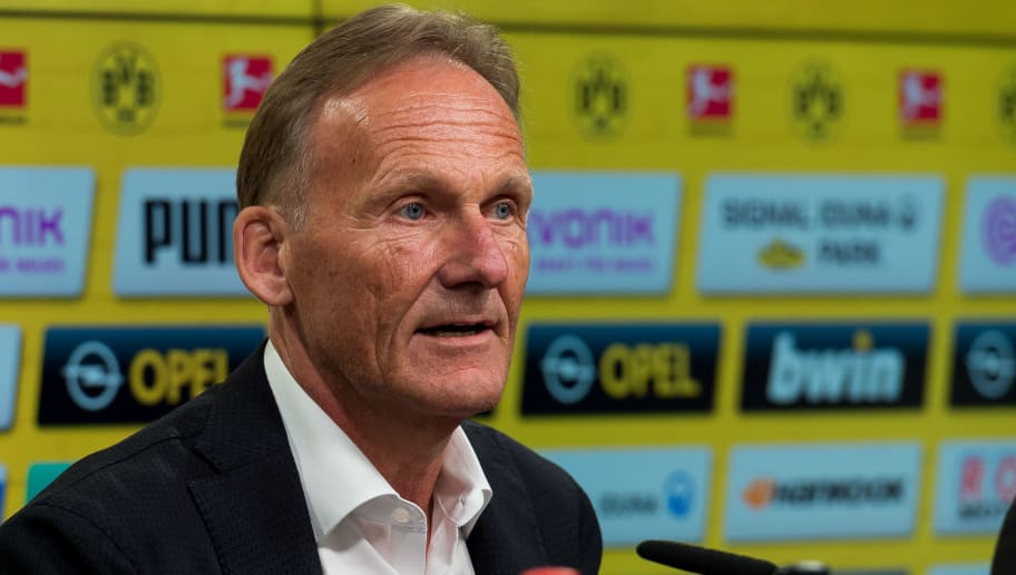 DORTMUND, GERMANY - JULY 03: CEO Hans-Joachim Watzke of Dortmund attends the press conference on July 3, 2018 in Dortmund, Germany. (Photo by TF-Images/Getty Images)