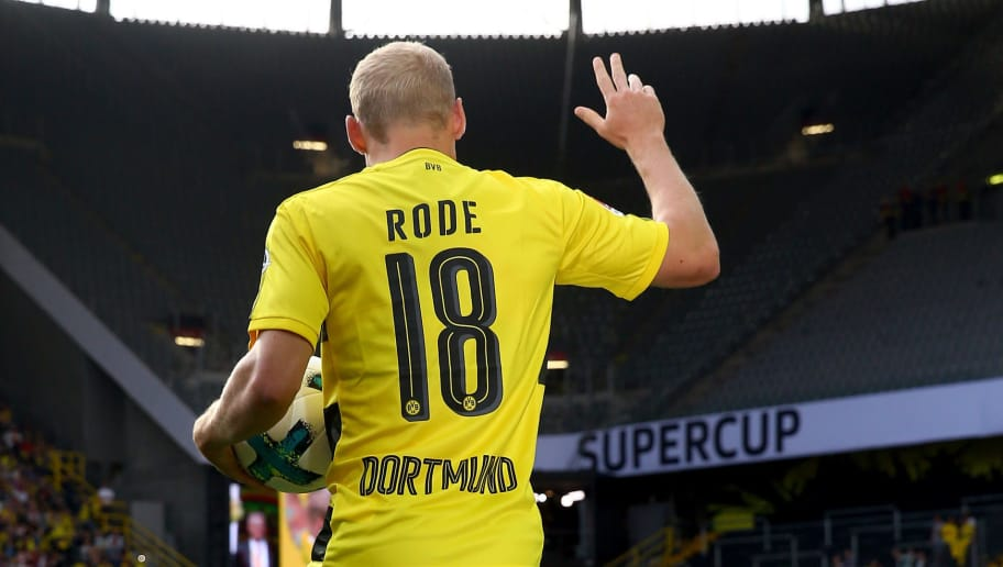 DORTMUND, GERMANY - AUGUST 04:  Sebastian Rode welcomes the fans during the Borussia Dortmund Season Opening 2017/18 at Signal Iduna Park on August 4, 2017 in Dortmund, Germany.  (Photo by Christof Koepsel/Bongarts/Getty Images)