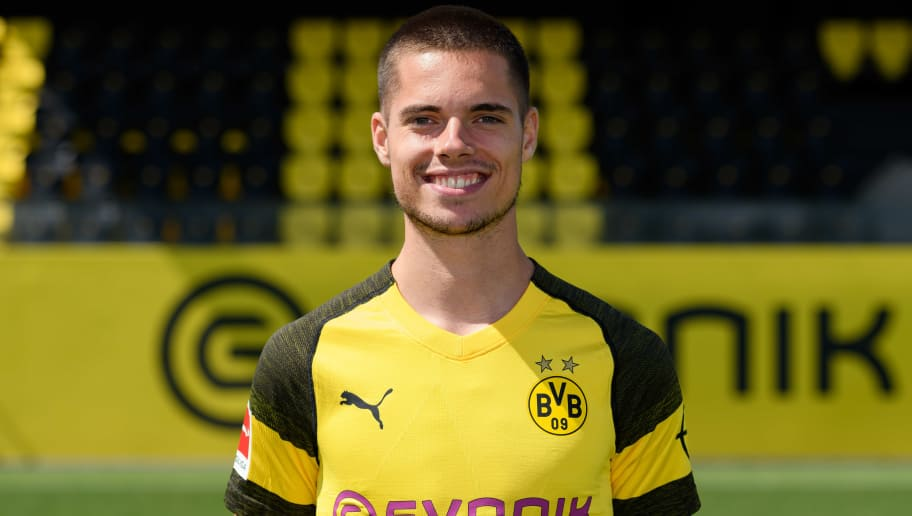 DORTMUND, GERMANY - AUGUST 10: Julian Weigl of Borussia Dortmund poses during the team presentation at BVB trainings center on August 10, 2018 in Dortmund, Germany. (Photo by TF-Images/Getty Images)