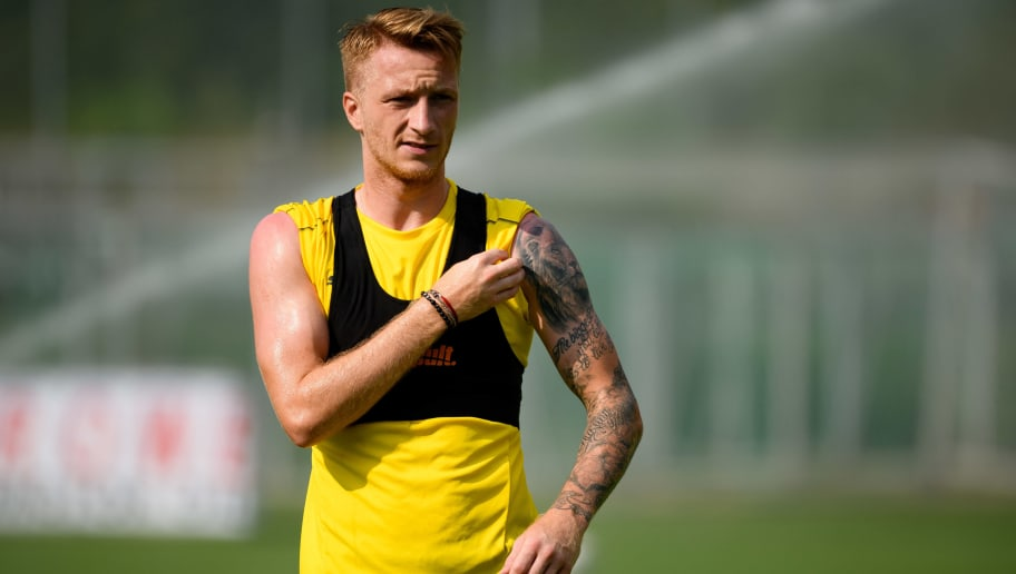 BAD RAGAZ, SWITZERLAND - AUGUST 02: Marco Reus of Borussia Dortmund looks on during the Borussia Dortmund training camp on August 2, 2018 in Bad Ragaz, Switzerland. (Photo by TF-Images/Getty Images)