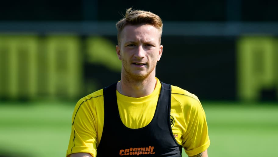 BAD RAGAZ, SWITZERLAND - AUGUST 04: Marco Reus of Dortmund looks on during the Borussia Dortmund training camp on August 4, 2018 in Bad Ragaz, Switzerland. (Photo by TF-Images/Getty Images)