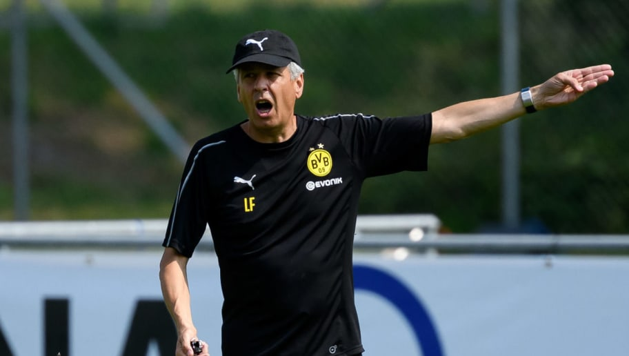BAD RAGAZ, SWITZERLAND - AUGUST 05: Head coach Lucien Favre of Dortmund gestures during the Borussia Dortmund training camp on August 5, 2018 in Bad Ragaz, Switzerland. (Photo by TF-Images/Getty Images)