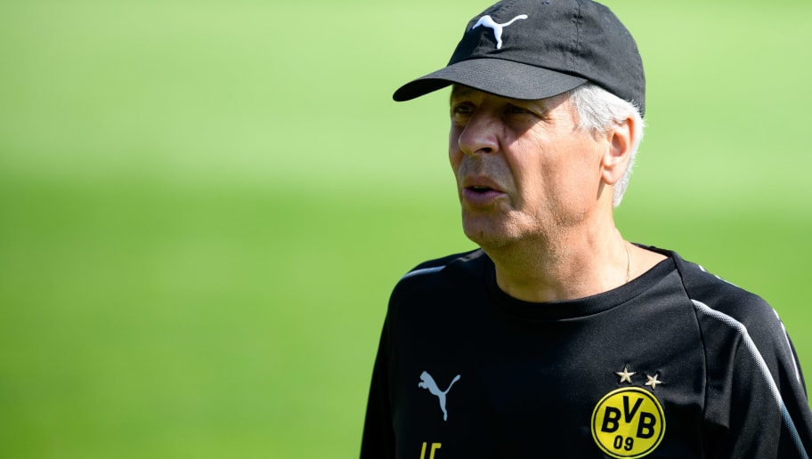 BAD RAGAZ, SWITZERLAND - AUGUST 04: Head coach Lucien Favre of Dortmund looks on during the Borussia Dortmund training camp on August 4, 2018 in Bad Ragaz, Switzerland. (Photo by TF-Images/Getty Images)