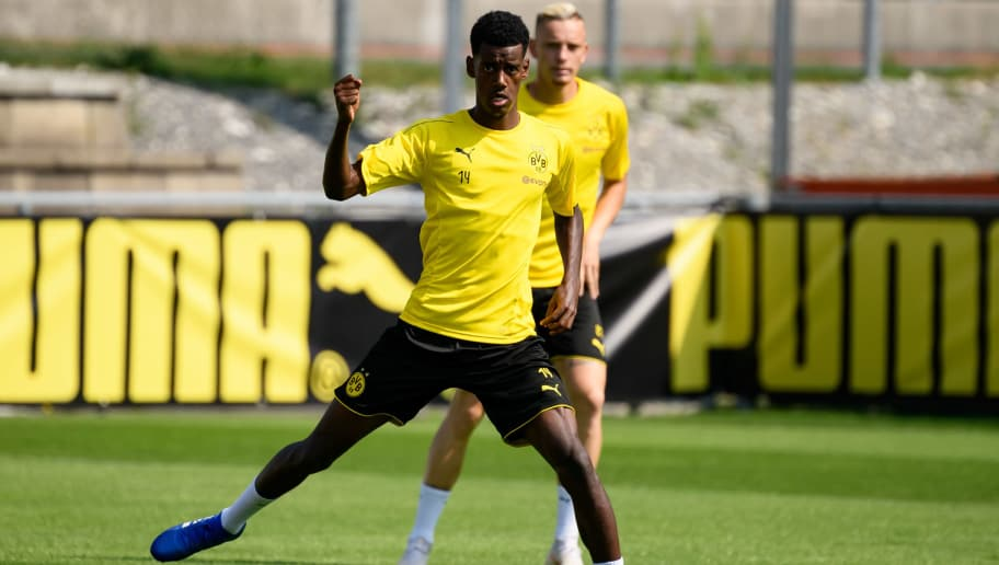 BAD RAGAZ, SWITZERLAND - AUGUST 05: Alexander Isak of Dortmund controls the ball during the Borussia Dortmund training camp on August 5, 2018 in Bad Ragaz, Switzerland. (Photo by TF-Images/Getty Images)