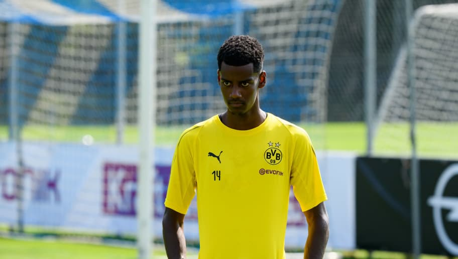 BAD RAGAZ, SWITZERLAND - AUGUST 05: Alexander Isak of Dortmund looks on during the Borussia Dortmund training camp on August 5, 2018 in Bad Ragaz, Switzerland. (Photo by TF-Images/Getty Images)