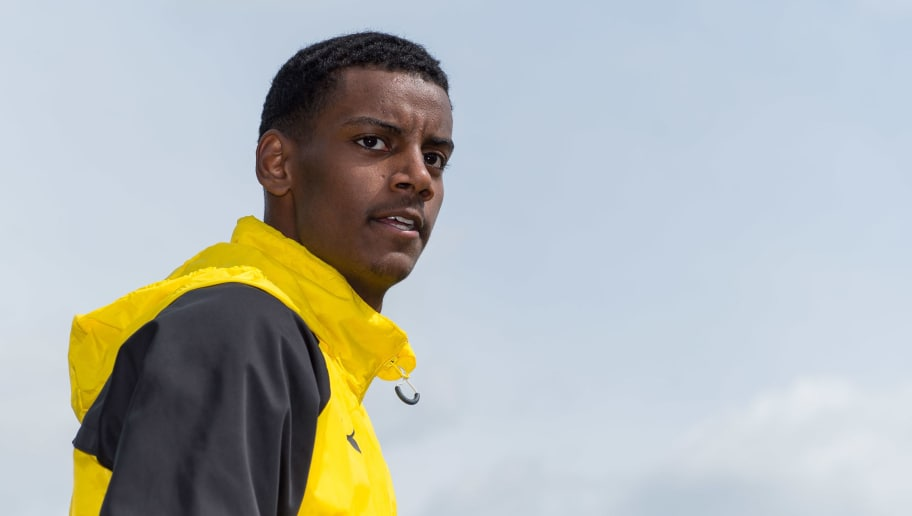 DORTMUND, GERMANY - MAY 01: Alexander Isak of Dortmund looks on during a training session at BVB trainings center on May 1, 2018 in Dortmund, Germany. (Photo by TF-Images/Getty Images)
