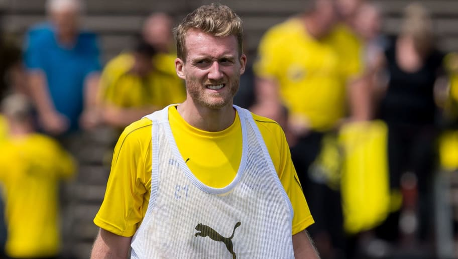 DORTMUND, GERMANY - JULY 09: Andre Schuerrle of Dortmund looks on during a training session at BVB trainings center on July 9, 2018 in Dortmund, Germany. (Photo by TF-Images/Getty Images)