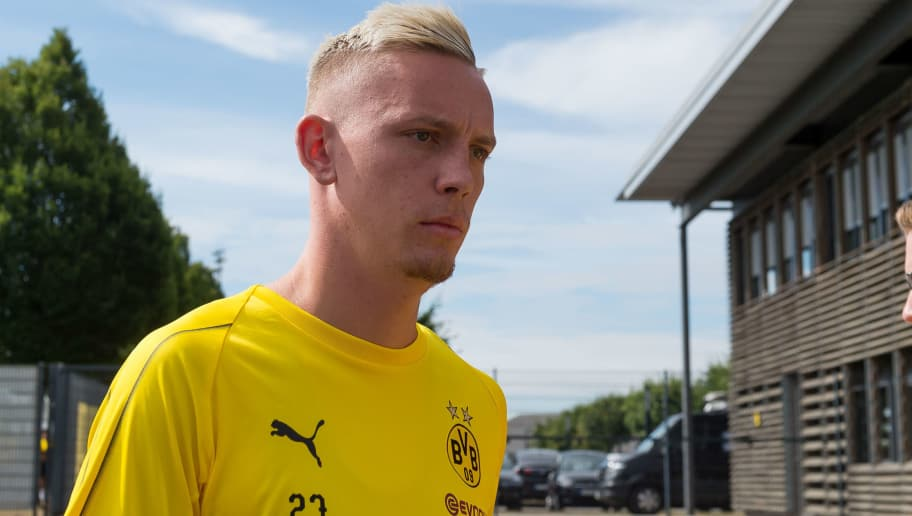 DORTMUND, GERMANY - JULY 09: Marius Wolf of Dortmund looks on during a training session at BVB trainings center on July 9, 2018 in Dortmund, Germany. (Photo by TF-Images/Getty Images)