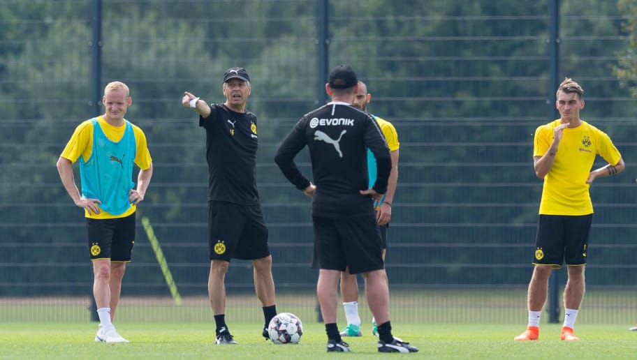 DORTMUND, GERMANY - JULY 12: Head coach Lucien Favre of Dortmund gestures during a training session at BVB training center on July 12, 2018 in Dortmund, Germany. (Photo by TF-Images/Getty Images)