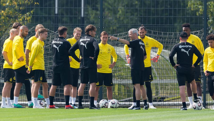 DORTMUND, GERMANY - JULY 12: Head coach Lucien Favre of Dortmund speaks to his team during a training session at BVB training center on July 12, 2018 in Dortmund, Germany. (Photo by TF-Images/Getty Images)