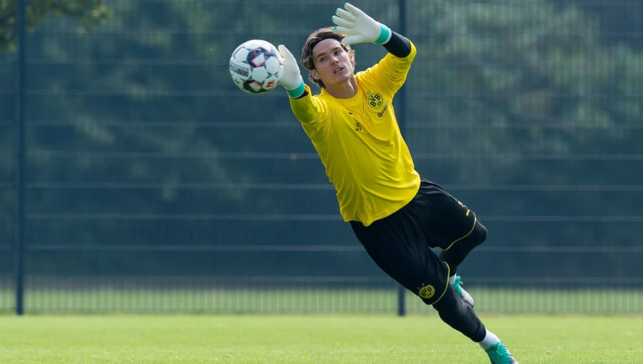 DORTMUND, GERMANY - JULY 12: Goalkeeper Marwin Hitz of Dortmund controls the ball during a training session at BVB training center on July 12, 2018 in Dortmund, Germany. (Photo by TF-Images/Getty Images)