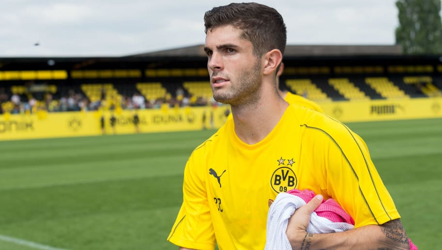 DORTMUND, GERMANY - JULY 09: Christian Pulisic of Dortmund looks on during a training session at BVB trainings center on July 9, 2018 in Dortmund, Germany. (Photo by TF-Images/Getty Images)