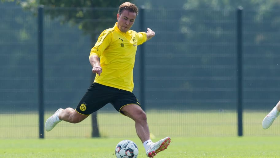 DORTMUND, GERMANY - JULY 12: Mario Goetze of Dortmund controls the ball during a training session at BVB training center on July 12, 2018 in Dortmund, Germany. (Photo by TF-Images/Getty Images)